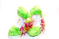 Figure Skating Fuzzy Soakers - CF08 - Lime Fuzzy Fur with Center White, Lime and Hot Pink Crazy Fur