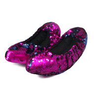 FLIPZ Mermaid Flip Sequin Figure Skating Soakers - Fuchsia, Dark Blue