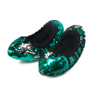 FLIPZ Mermaid Flip Sequin Figure Skating Soakers - Green, Grey