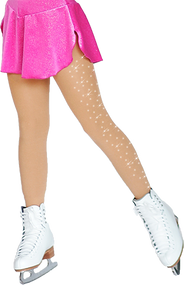 ChloeNoel Footed Ice Skating Tights 3330 Medium Tan - with Crystals