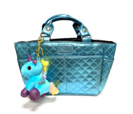 Kami-So Ice Skating Rink Tote (Aquamarine) with Blue Unicorn Key Chain