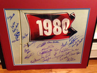 1980 Phillies World Series Flag 16 x 20 signed by 31 players All Possible Living
