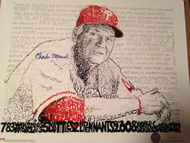 Charlie Manuel Autographed Philly Word Art 16 x 20  Photo