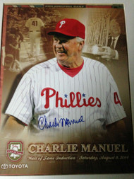 SOLD 1091 Charlie Manuel Autographed Phillies Wall of Fame Print