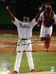 JC Romero Autographed 2008 WS Champs 16 x 20 Photo