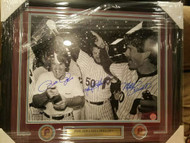 Mike Schmidt, Marty Bystrom and Pete Rose Autographed Framed 16 x 20