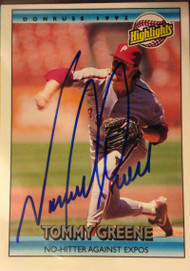 Tommy Greene Autographed 1992 Donruss #94