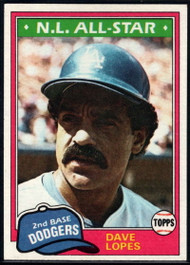 1981 Topps #50 Davey Lopes VG Los Angeles Dodgers