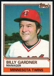 1983 Topps #11 Billy Gardner UER VG Minnesota Twins