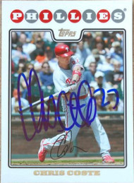 Chris Coste Autographed 2008 Topps Updates and Highlights #UH93