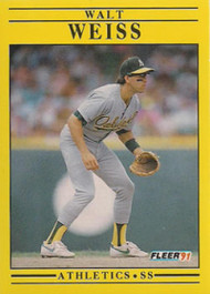 1991 Fleer #26 Walt Weiss VG Oakland Athletics