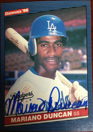 Mariano Duncan Autographed 1986 Donruss #128