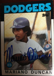 Mariano Duncan Autographed 1986 Topps #602