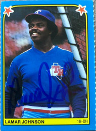 Lamar Johnson Autographed 1983 Fleer Star Stickers #162
