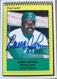 Lamar Johnson Autographed 1991 Pro Cards #138