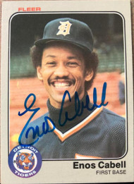 Enos Cabell Autographed 1983 Fleer #328