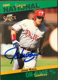 John Kruk Autographed 1993 Score Select Stat Leaders #53