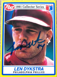 Lenny Dykstra Autographed 1991 Post Cereal #8