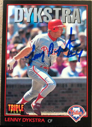 Lenny Dykstra Autographed 1993 Triple Play #185