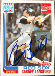 Carney Lansford Autographed 1982 Brigham's/Coca Cola Boston Red Sox #10