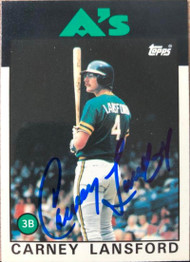 Carney Lansford Autographed 1986 Topps Tiffany #134