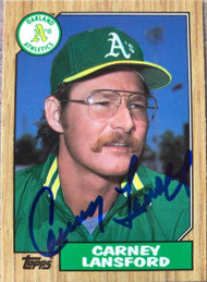 Carney Lansford Autographed 1987 Topps Tiffany #678