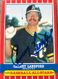 Carney Lansford Autographed 1987 Fleer Baseball All-Stars #24