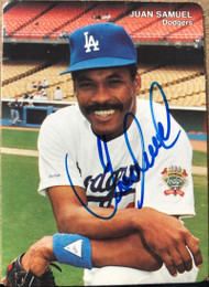 Juan Samuel Autographed 1990 Los Angeles Dodgers Mother's Cookies #7