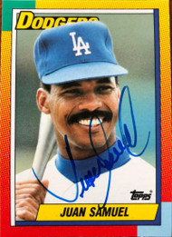 Juan Samuel Autographed 1990 Topps Traded #109T