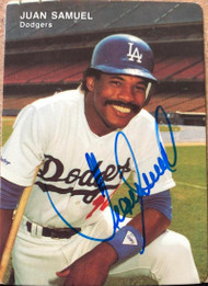 Juan Samuel Autographed 1991 Los Angeles Dodgers Mother's Cookies #7