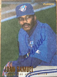 SOLD 87550 Juan Samuel Autographed 1996 Fleer Update #U103