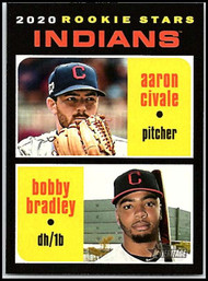 2020 Topps Heritage #83 Aaron Civale/Bobby Bradley NM-MT RC Rookie Cleveland Indians