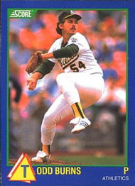 1989 Score Hottest 100 Rising Stars #100 Todd Burns NM-MT Oakland Athletics