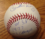 SOLD 2539 Carlos May Autographed ROMLB Baseball 1977 WS Champs