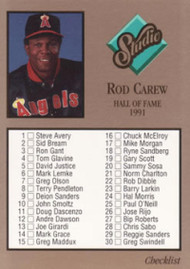 1992 Studio #261 Rod Carew Checklist VG