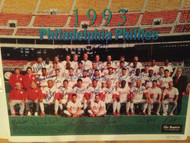 1993 Phillies Autographed Philadelphia Inquirer Insert Team 10 x 13 Photo Signed by 37 Players and Coaches