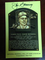 Jim Bunning Autographed Hall of Fame Gold Plaque Postcard 2