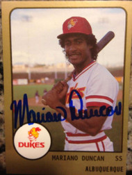 Mariano Duncan Autographed 1988 Pro Cards #255 Albuquerque Dukes Minor Leagues
