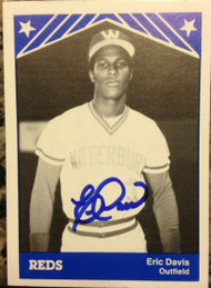 SOLD 2704 Eric Davis Autographed 1983 TCMA #15 Waterbury Reds Minor League Card