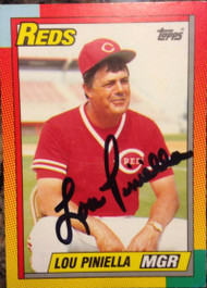 SOLD 2718 Lou Piniella Autographed 1990 Topps Traded #96T Signed in Black