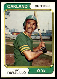 1974 Topps #444 Vic Davalillo VG Oakland Athletics
