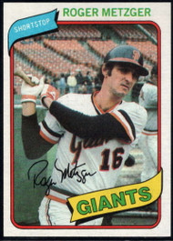 1980 Topps #311 Roger Metzger VG San Francisco Giants