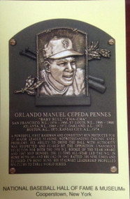 Orlando Cepeda Stamped and Canceled Hall of Fame Gold Plaque Postcard