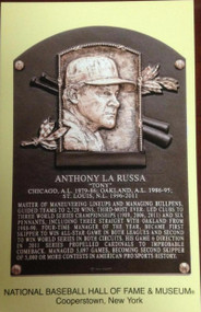 Tony LaRussa Stamped and Canceled Hall of Fame Gold Plaque Postcard