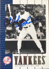 Cliff Johnson Autographed 2000 Upper Deck Yankee Legends #41