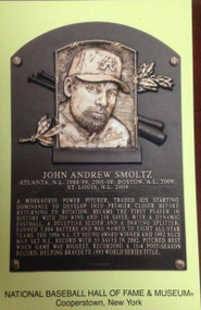John Smoltz Stamped and Canceled Hall of Fame Gold Plaque Postcard