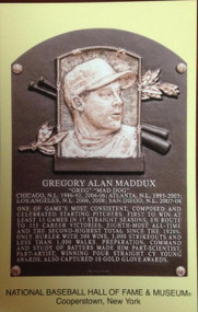 Greg Maddux Stamped and Canceled Hall of Fame Gold Plaque Postcard