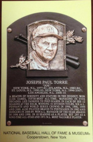 Joe Torre Stamped and Canceled Hall of Fame Gold Plaque Postcard