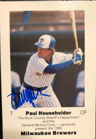 Paul Householder Autographed 1985 Milwaukee Brewers Police #NNO Rock County Sheriff's Dept, GM, & Janesville
