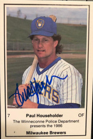 Paul Householder Autographed 1986 Milwaukee Brewers Police #NNO Winneconne